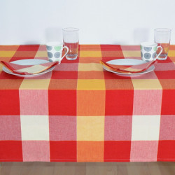 LINGE DE TABLE CHECK ROUGE