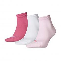 Puma quarter plain bco / rose 3 paires