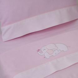 Set de feuilles cota franela elefante rosa
