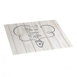 Tapis de cuisine en vinyle texte café 45x75
