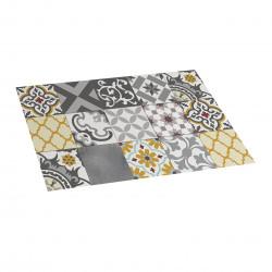 Tapis de cuisine en vinyle patch gris-ambre