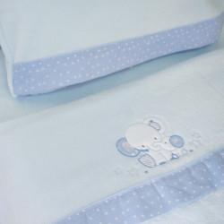 Ensemble de draps pour lit de bébé Coral 084 bleu