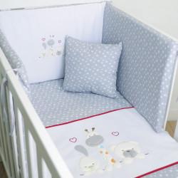 Lit bébé coordonné 068 blanc / gris