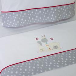 Ensemble de draps pour lit de bébé 068 bco / gris