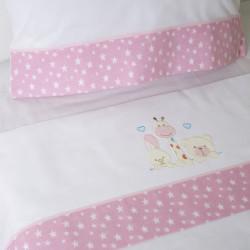Parure de lit bébé 068 blanc / rose