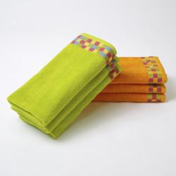 Lot de 3 serviettes éponge de cuisine avec bordure jacquard à carreaux 24