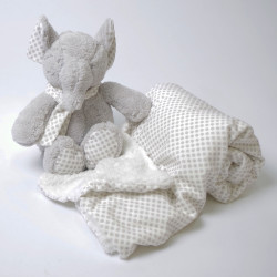 Couverture à pois + éléphant en peluche gris