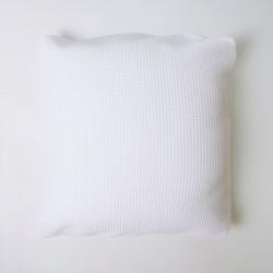 Housse de coussin nid d'abeille en coton blanc