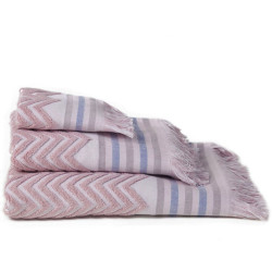 Zig-zag sont jacquard serviette rosa